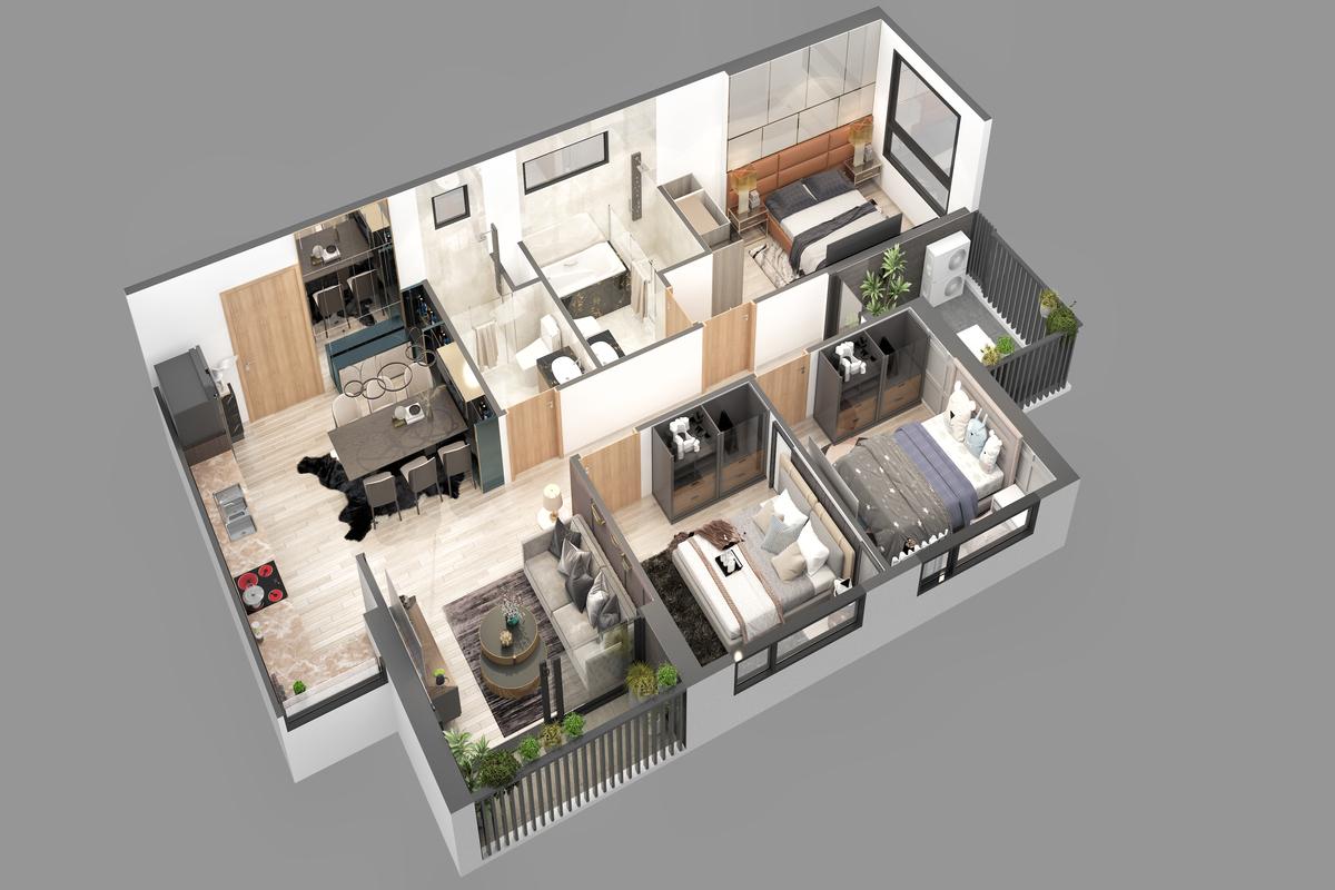 thiết kê căn hộ chung cư sky oasis